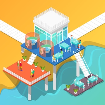 Beach restaurant on the coast of the sea with people. isometric building