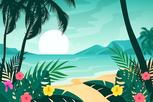 ビデオコミュニケーションのための砂浜と波の背景