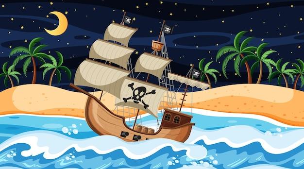 Пляжная сцена ночью с пиратским кораблем в мультяшном стиле