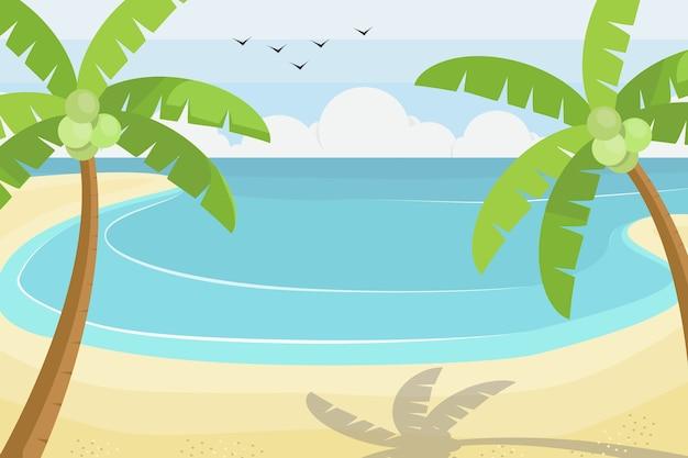 Beach scene on flat style design, vector illustration