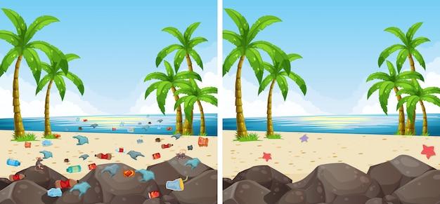 Загрязнение пляжной сцены и очистка