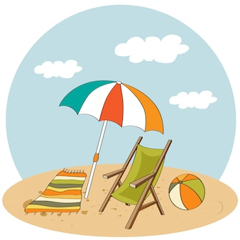 Beach scene. summer holiday illustration