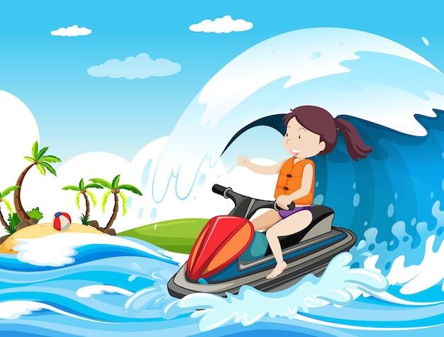 제트 스키를 운전하는 여자와 해변 장면 무료 벡터