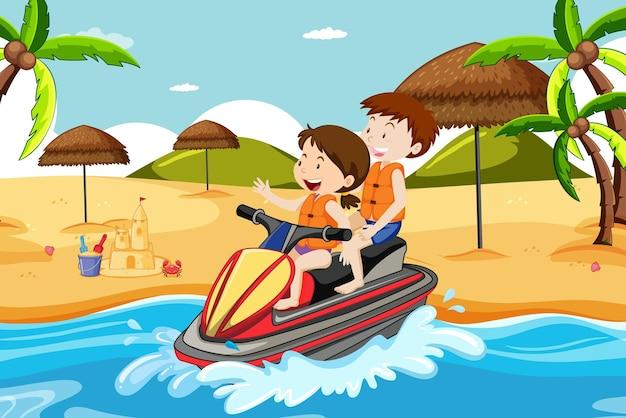 Scena della spiaggia con bambini che guidano una moto d'acqua