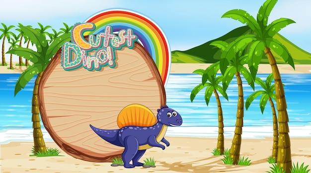 Scena della spiaggia con modello di scheda vuota e simpatico personaggio dei cartoni animati di dinosauro