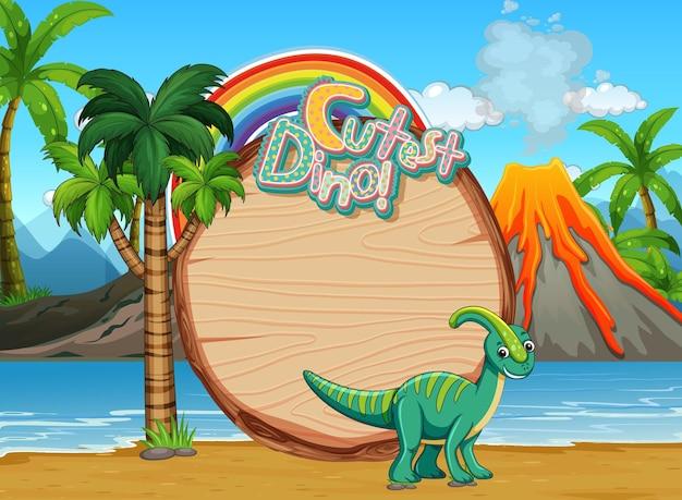Beach scene with empty board template and cute dinosaur cartoon character