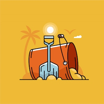 Пристаньте сцену к берегу с красным ведром и голубым лопаткоулавливателем в песке. летнее время путешествия концепция иллюстрации.