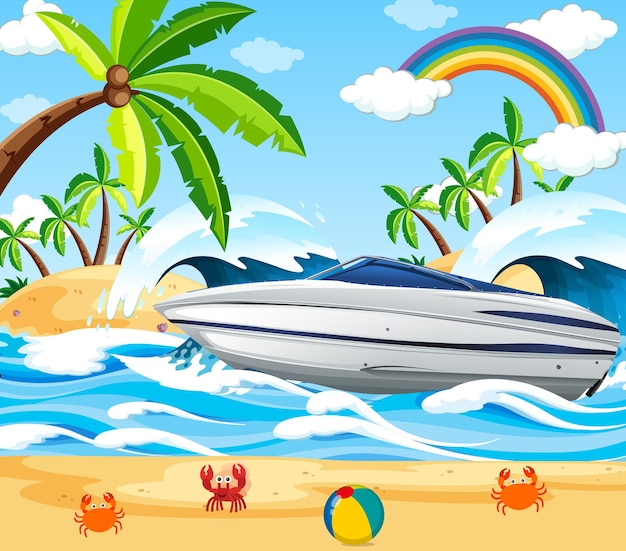 Beach scene with a speed boat