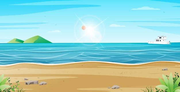 산과 보트 투어가 있는 해변 풍경
