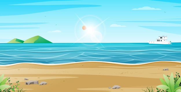 Beach scenery with mountains and boat tour Premium Vector