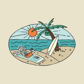 ビーチ海自然冒険サーフスカル絵画グラフィックイラストアートtシャツデザイン