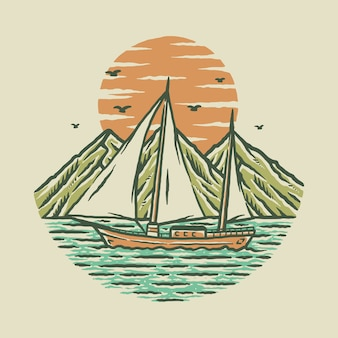 Beach sea nature graphic illustration  art t-shirt design