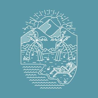 Пляж море природа дикая графика иллюстрация искусство дизайн футболки