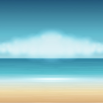 Beach sea with clouds summer holidays vector background.