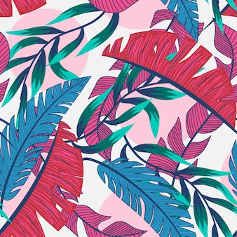 Beach seamless pattern with colorful tropical leaves and plants on a light background