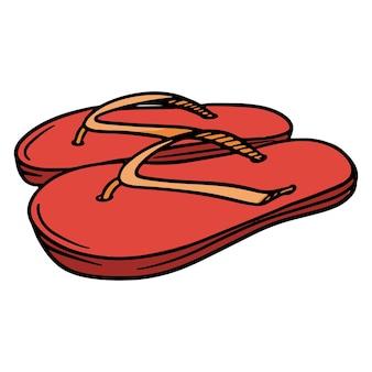 비치 슈즈. 슬리퍼. 밧줄이 달린 슬리퍼. 고무 비치 슈즈. 디자인 및 장식을 위한 그림입니다.