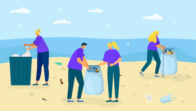 Пляж на берегу с мусором векторная иллюстрация, люди, персонаж, собирают отходы возле океана, чистка природы ...