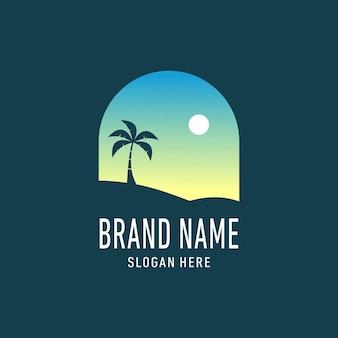 Beach silhouette landscape logo design illustration