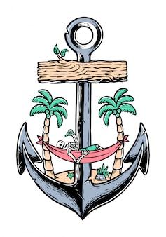 Пляжный череп и старая иллюстрация якоря