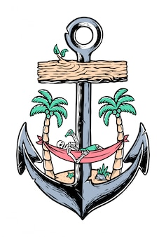 Beach skull and old anchor illustration