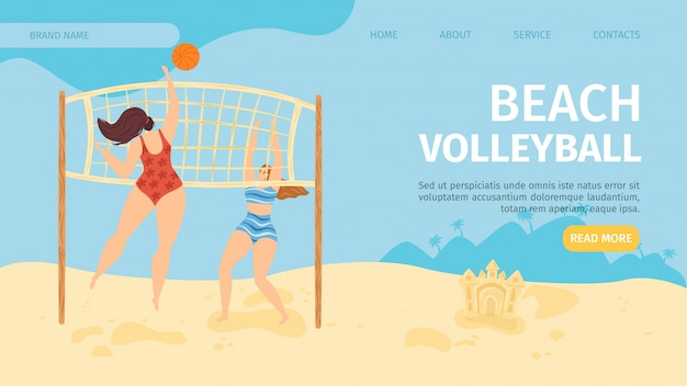 Beach  sport banner,  illustration. people cartoon character play volleyball, girl lifestyle activity at template page. outdoor summer active with ball and playing game, web landing .