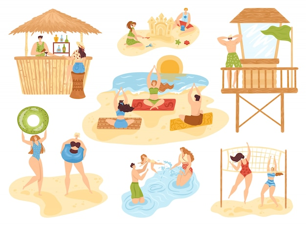イラスト、海の人々、楽しさとアクティブなスポーツ、休暇のビーチコレクションのビーチ夏の活動セット。ヨガ、ビーチバー、水泳家族、砂遊びとリラックスできる子供たち。