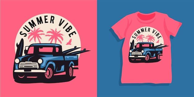 ビーチの夏の車のtシャツのデザイン