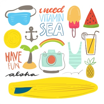 Beach and summer doodle set