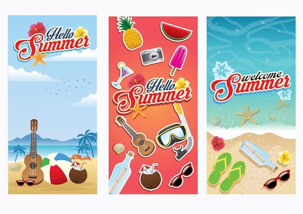 Beach summer flyer set collection
