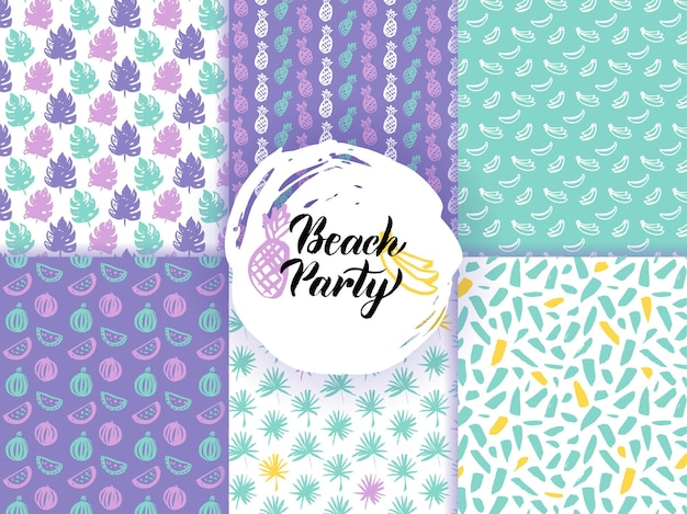 Beach summer funky seamless patterns. vector illustration of nature tile background.