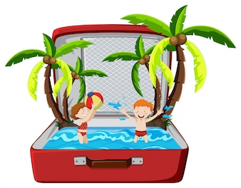 Beach summer holiday in suitcase