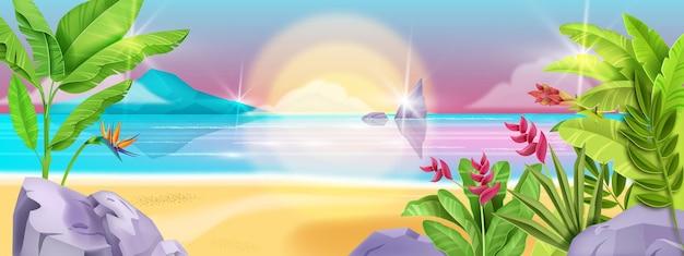 ビーチ夏の風景海の背景熱帯の島の海岸
