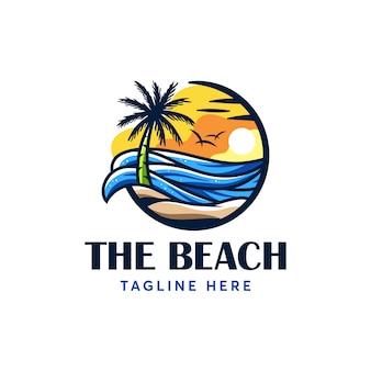Beach summer logo   template modern and minimalism
