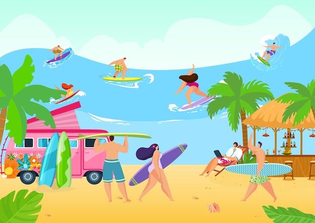 Пляж летний океан с группой людей