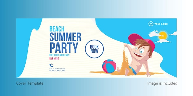 Beach summer party cover page template