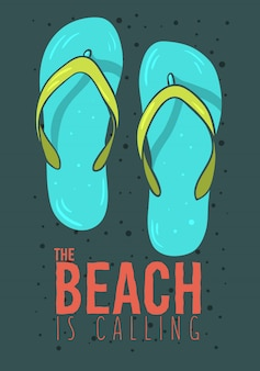 Beach summer  poster design with flip flops slippers beach shoes hand drawn  illustrations.