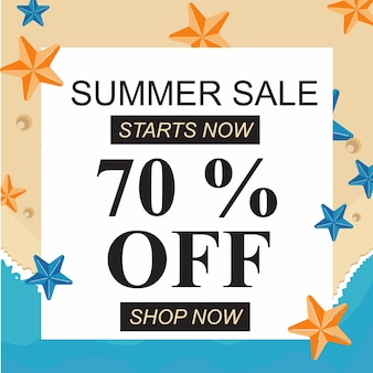 Beach summer sale banner big discount off with starfish