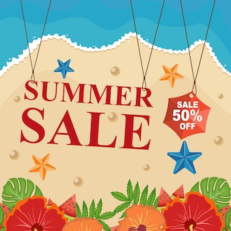 Beach summer sale banner discount with floral flower