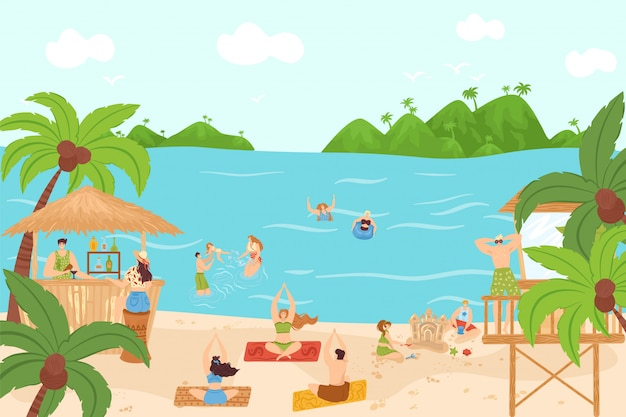 Beach summer sea people activity at vacation,  illustration. man woman character travel at leisure holiday,  ocean water. person fun outdoor relax, swim, sport and sunbathing.