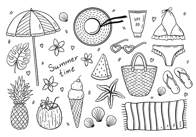 Beach summer set in doodle style isolated on white