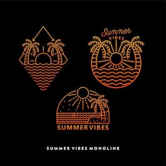해변 여름 분위기 모노라인 디자인