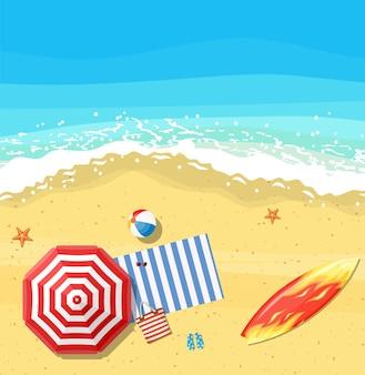 Пляжные зонтики шлепанцы и пляжный коврик