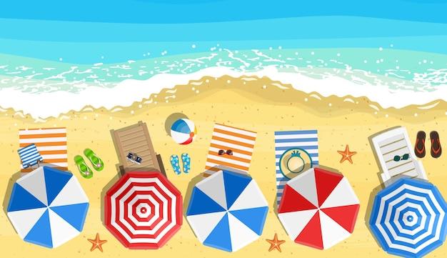 Пляжные зонтики шлепанцы и пляж