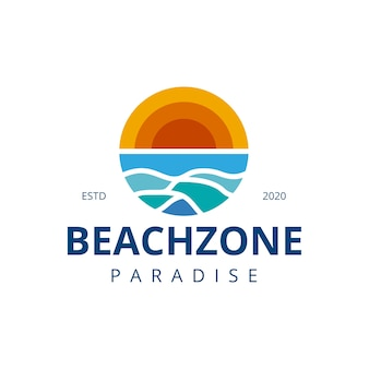 Beach sun water waves logo design