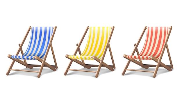 Пляжный шезлонг в трех разных цветах