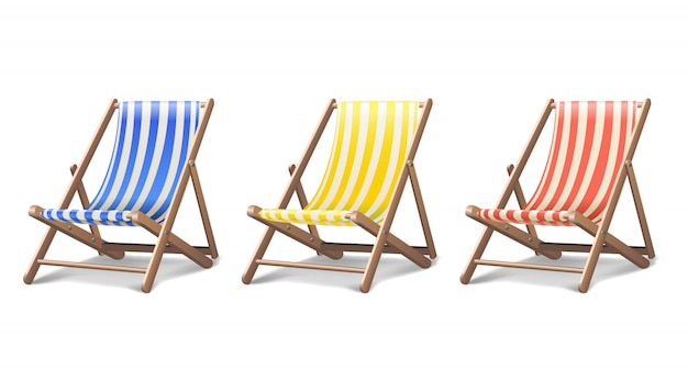 Beach sunbed in three different colours set
