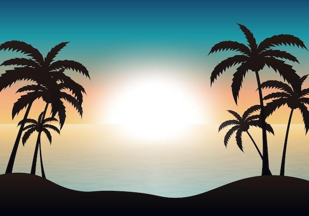 Предпосылка ландшафта захода солнца пляжа. векторная иллюстрация. абстрактный фон.