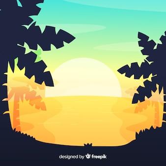 Beach sunset landscape background