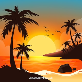 Beach sunset landscape background