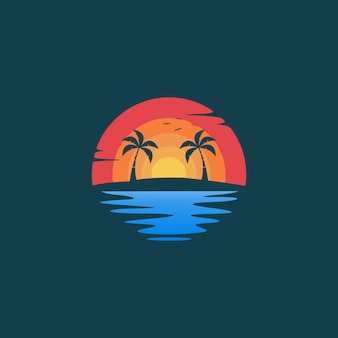 Beach sunset landscape logo design illustration